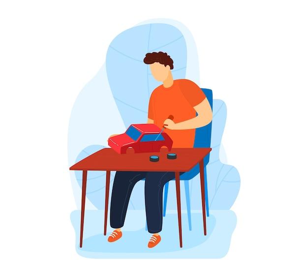 Hhome hobby, ervaren man monteur voert onderhoud typemachine, met de hand gemaakt, cartoon afbeelding, geïsoleerd op wit. hulpmiddelen voor auto, technicus aan het werk in de werkplaats, huis geïsoleerd.