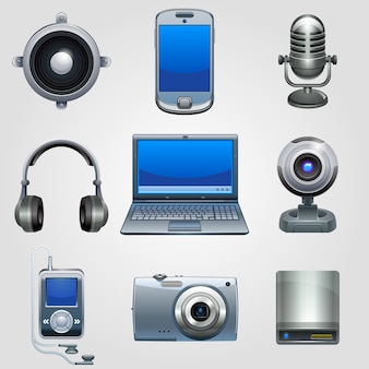 Hi-tech apparatuur pictogramserie. technologie apparaat elektronica.
