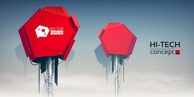 Hi-tech ontwerpconcept met twee rode technische torens op wolkenhemel, realistische illustratie