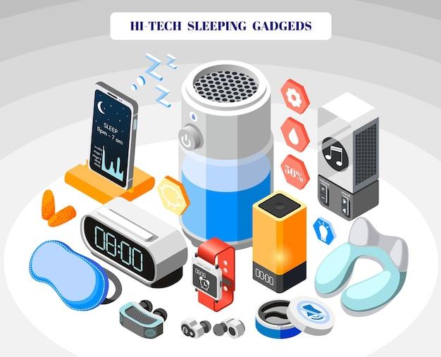 Hi-tech slapende isometrische gekleurde compositie met technische en innovatieve hulpmiddelen om te slapen
