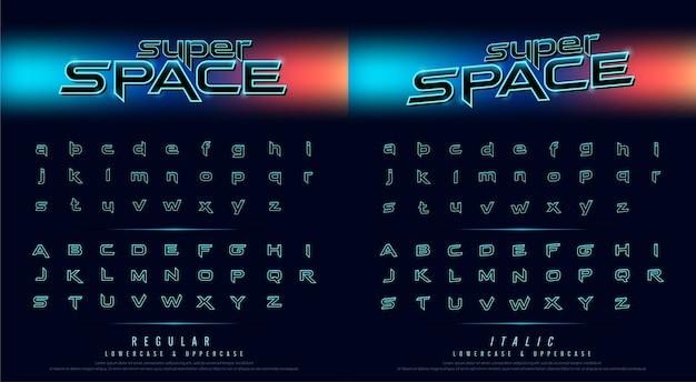 Hi tech techno font toekomstige filmstijl. metalen chroom effect alfabet letters