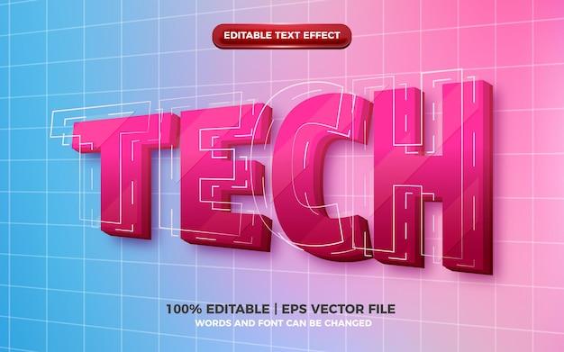 Hi-tech toekomstig 3d bewerkbaar teksteffect