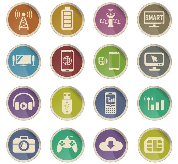 Hi-tech webpictogrammen in de vorm van ronde papieren etiketten