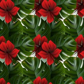 Hibiscus patroon. tropic palmblad. naadloze achtergrond.