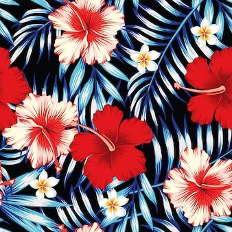 Hibiscusrood en palmbladen blauwe naadloze achtergrond
