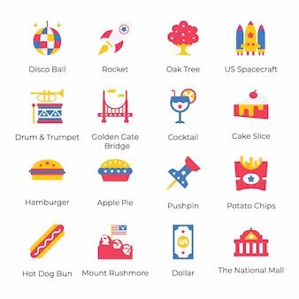 Hier is een pakket amerikaanse vlakke pictogrammen van de onafhankelijkheidsdag, die 4 juli viering conceptualiseren door zijn opvallende visuals. grijp het en gebruik het volgens uw projectbehoefte.