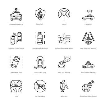 Hier is een verzameling pictogrammen voor autorijlijnen met aangrijpende beelden van auto-rijdende pictogrammen die u gemakkelijk kunt bewerken en gebruiken in uw projectbehoefte.