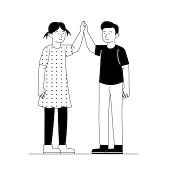High five friend flat outline illustratie