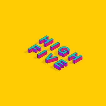 High five tekst 3d isometrische lettertype ontwerp social media post pop art typografie belettering vector
