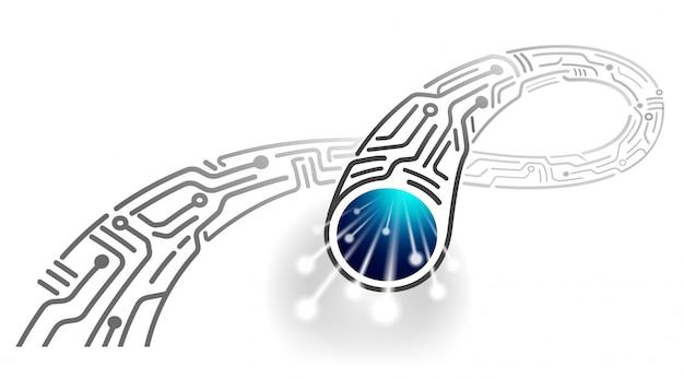 High-speed digitale kabel in de toekomst ontwerp van nieuwe monochrome glasvezelkabel abstract.