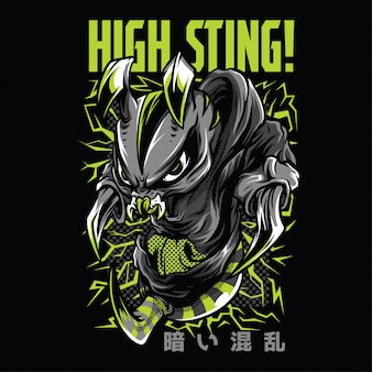 High sting neon illustratie