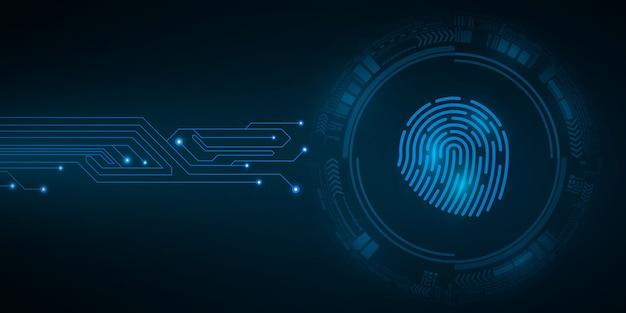 High-tech vingerafdruk voor computersysteembeveiliging met hud-interface-elementen. scan voor hangslot. computer printplaat. abstracte blauwe cybercirkel.