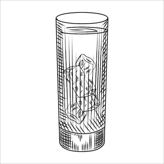 Highball glas ijswater. glas limonade en ijsblokjes. gravure stijl vectorillustratie. voor barmenu, kaarten, posters, prints, verpakkingen.