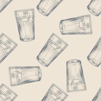 Highball glas naadloos patroon. collin glazen achtergrond. gravure stijl.