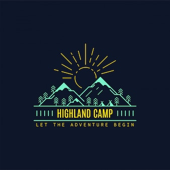 Highland camp-badge. lijn illustratie. trekking, camping embleem.