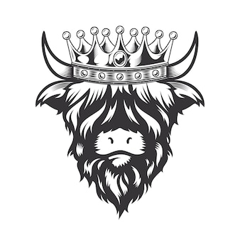 Highland cow king met kroon hoofd ontwerp op witte achtergrond. boerderijdier. koeien logo's of pictogrammen. vectorillustratie.