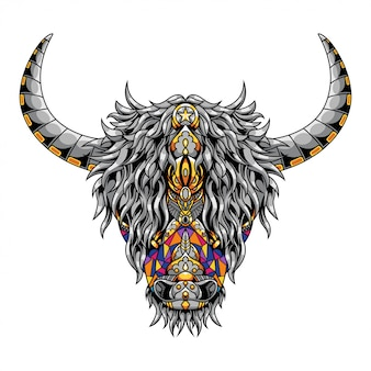 Highland cow mandala zentangle illustration en tshirt ontwerp