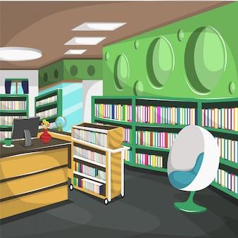 Highschool library college met kast vol met boeken