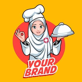 Hijab chef vrouw Premium Vector
