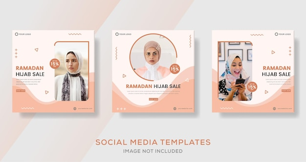 Hijab fashion sale banner voor ramadan kareem media social template post