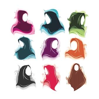 Hijab gezichtsloze meisjesset