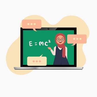 Hijab-leraar geeft online les vanwege het coronavirus. laptop mockup. virtuele les. vlakke stijl vector.