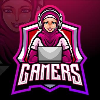 Hijab-mascotte. esport logo ontwerp