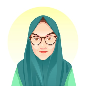 Hijab meisje eenvoudige illustratie