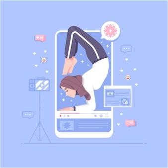 Hijab meisje online les yoga concept illustratie