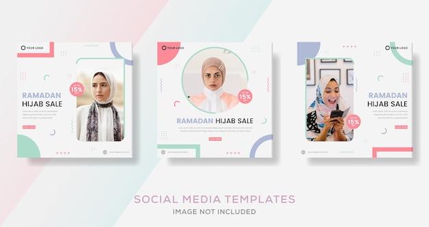 Hijab-modebanner voor ramadan kareem media sociale sjabloonpost