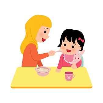 Hijab-moeder die haar dochtertje voedt. moeder geeft peuter voedzame pap. ouderschap illustraties op witte achtergrond.