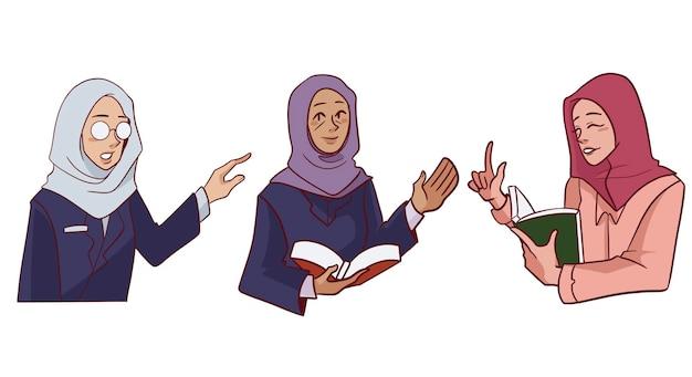 Hijab moslimvrouwen leraren poseren illustratie