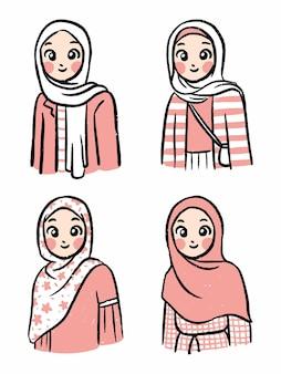 Hijab outfit schattige eenvoudige karaktercollectie