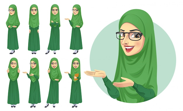 Hijab vrouw tekenset