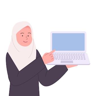 Hijab vrouw wijst naar laptop vlakke afbeelding
