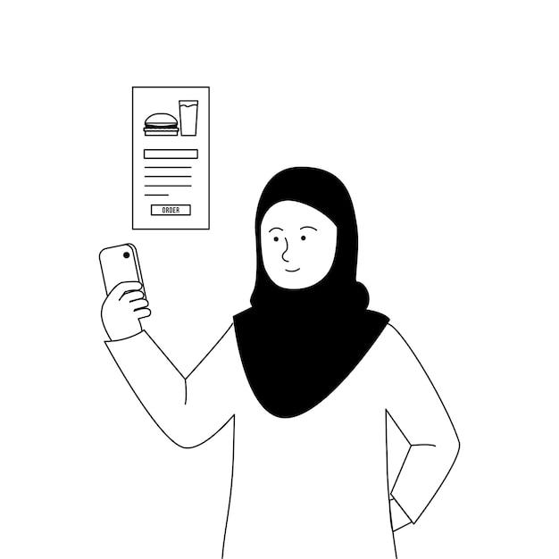 Hijab-vrouwen die online eten bestellen met smartphone-apps