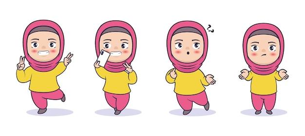 Hijabi moslim meisje karakter vectorillustratie