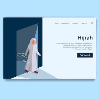 Hijrah illustratie van het nieuwe hijri-jaar, islamitische kalender-bestemmingspagina