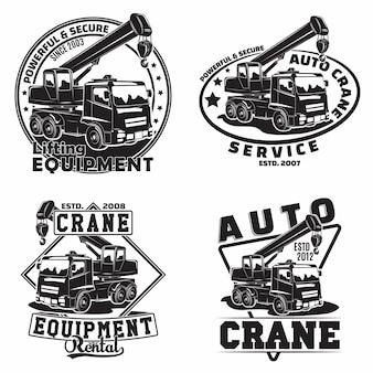 Hijswerk emblemen ontwerpen, emblemen van kraanmachineverhuurorganisatie print stempels, constructiemateriaal, zware kraan machine typografie emblemen