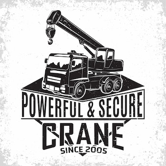 Hijswerklogo, embleem van kraanmachineverhuurorganisatie, afdrukstempels, bouwapparatuur, typografisch embleem van de zware kraanmachine,