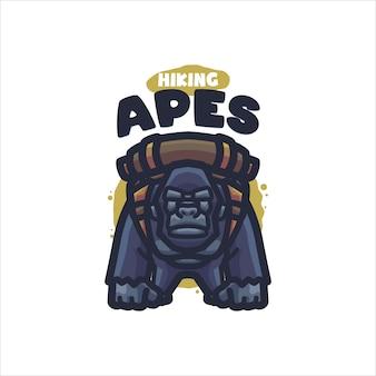 Hiking apes cartoon-logo voor uw bedrijf