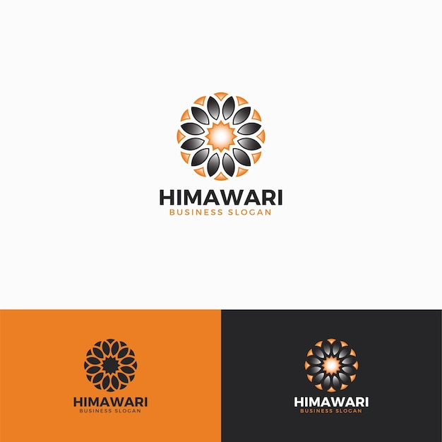 Himawari - sun flower logo template