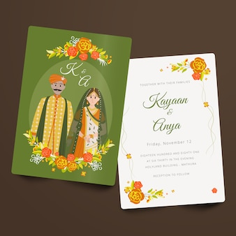 Hindi bruiloft paar uitnodiging