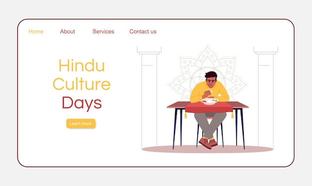 Hindoe cultuur dagen bestemmingspagina vector sjabloon. gastronomisch toerisme website-interface idee met platte illustraties. indiase nationale keuken restaurant homepage lay-out. cartoon webbanner, webpagina