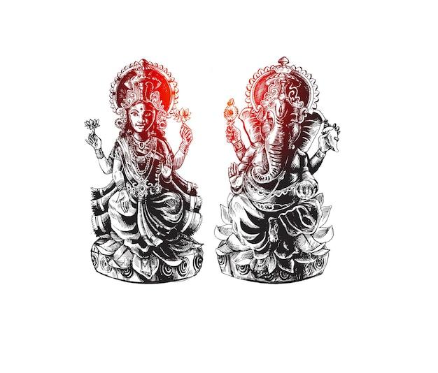 Hindoe god laxmi en ganesh op diwali festival, hand getrokken schets vectorillustratie.