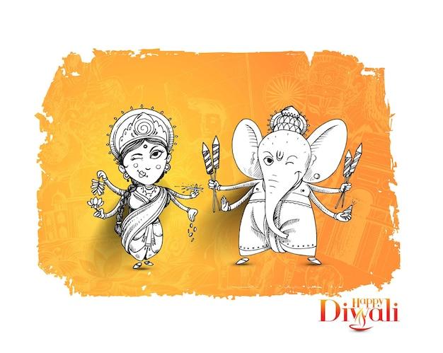 Hindoe god laxmi ganesh op diwali festival, hand getrokken schets vectorillustratie.