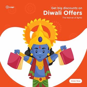 Hindoe lord rama met boodschappentassen cartoon afbeelding diwali biedt bannerontwerp