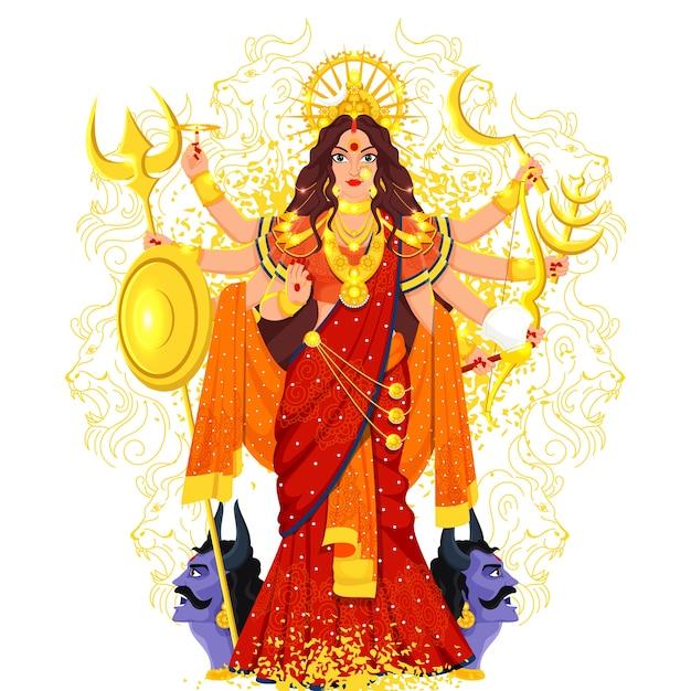 Hindoe-mythologie godin durga maa illustratie