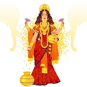 Hindoe-mythologie godin laxmi illustratie