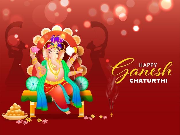 Hindoe-mythologie lord ganesha bij throne idol with indian sweet (laddu)